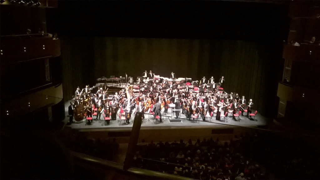 Blurry picture of orchestra from mobile phone