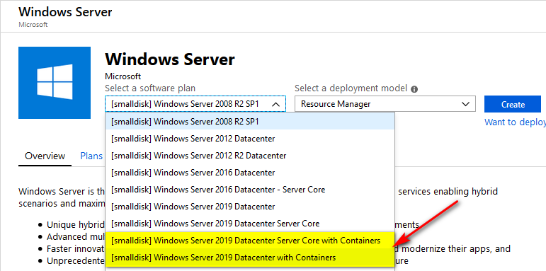 Select Windows Server 2019 Datacenter with Containers as VM image