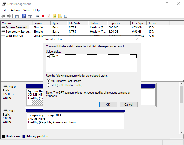 Partition the data disk